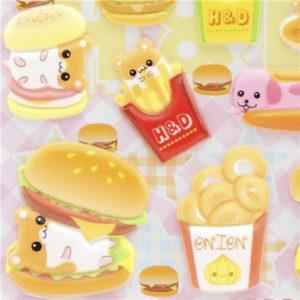 pegatinas hamburguesas kawaii