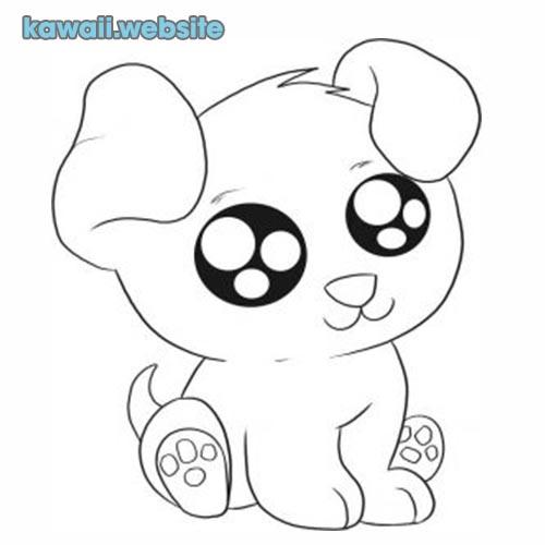 perro kawaii para pintar
