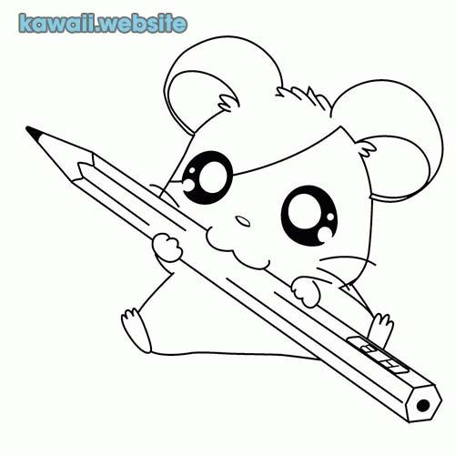 raton kawaii para pintar