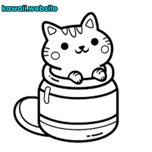 Dibujo-de-gato-kawaii-para-pintar