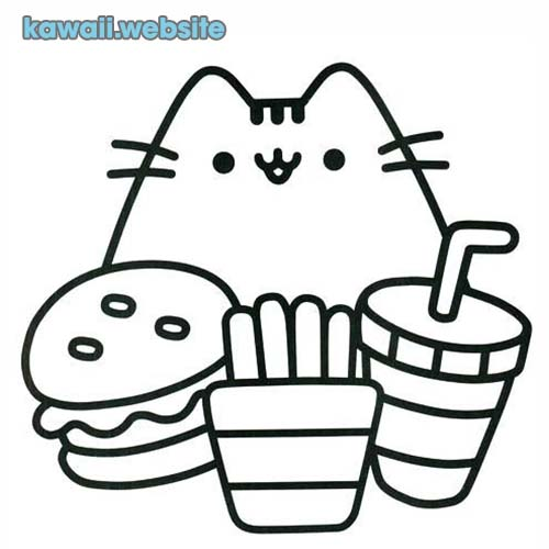 dibujos kawaii para colorear gato