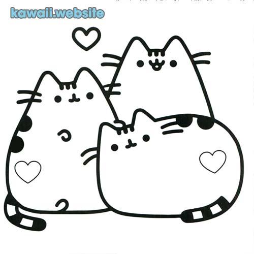 dibujos kawaii para colorear gatos