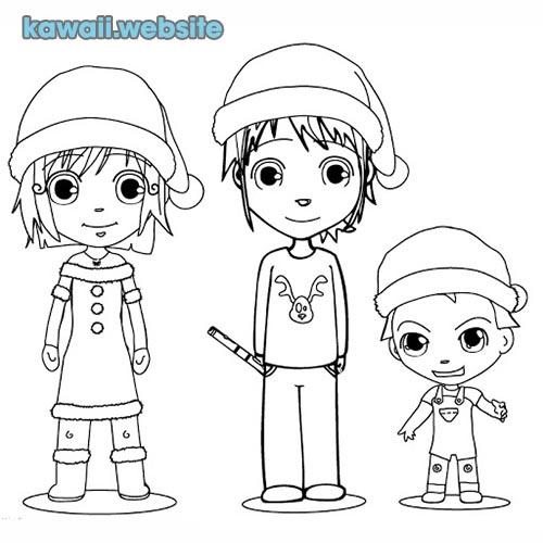 chicos kawaii para pintar