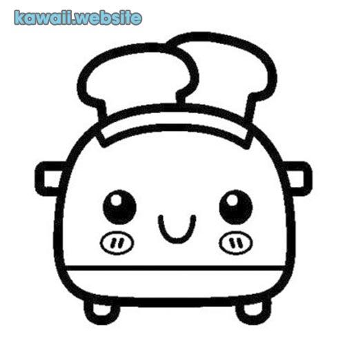 dibujos kawaii para colorear tostadora