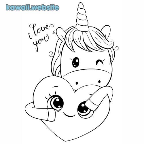 unicornio kawaii para poner color