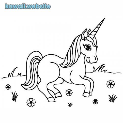 dibujos kawaii para colorear unicornio
