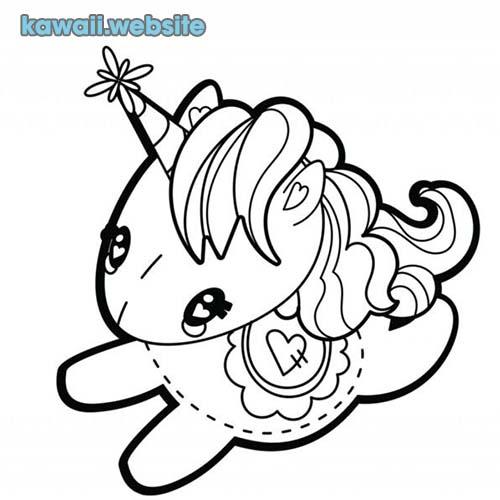 unicornio kawaii para colorear unicornio