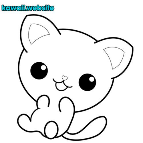 bebe-gato-kawaii-para-colorear