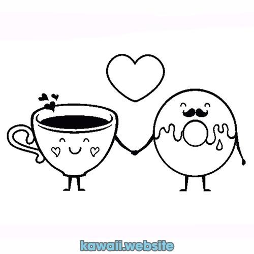 cafe-con-donut-kawaii-para-colorear